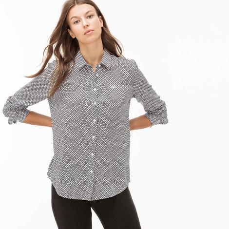 Lacoste Kadın Beyaz-Siyah Çizgili Gömlek
