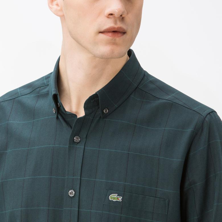 Lacoste Erkek Slim Fit Yeşil Ekose Gömlek