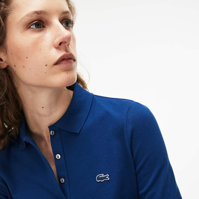 Lacoste Kadın Saks Uzun Kollu Mavi Polo