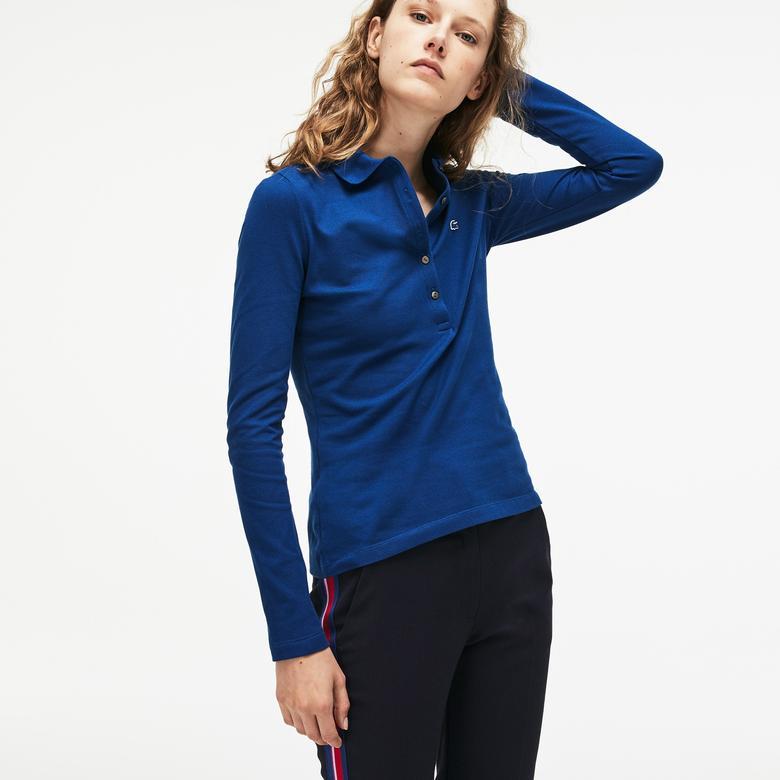 Lacoste Kadın Saks Uzun Kollu Slim Fit Mavi Polo