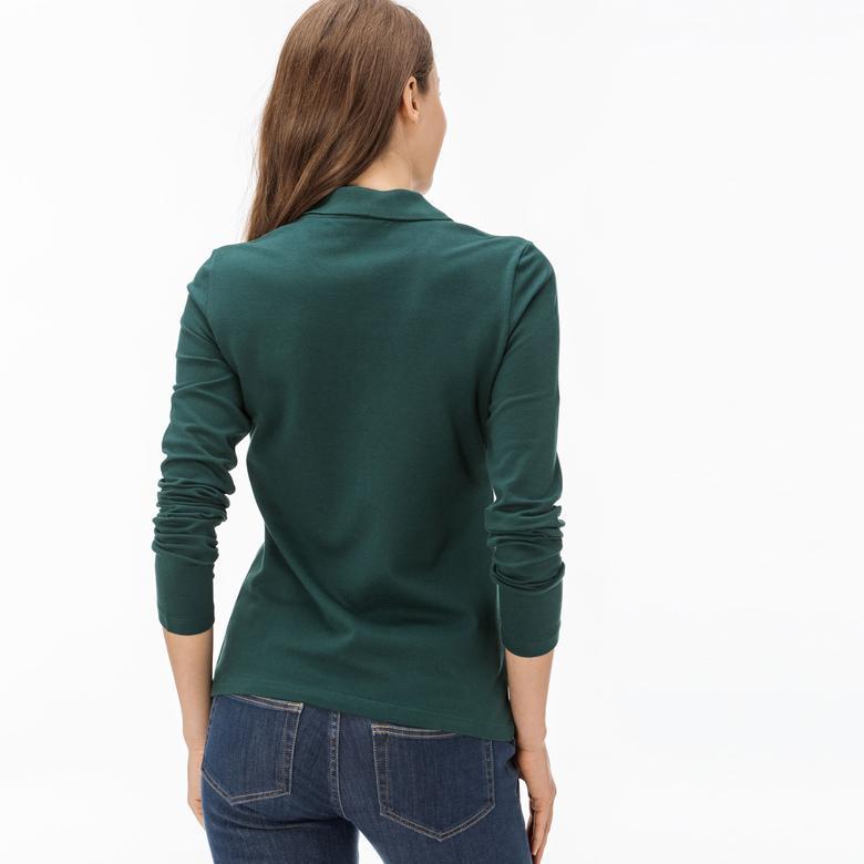 Lacoste Kadın Yeşil Slim Fit Uzun Kollu Polo