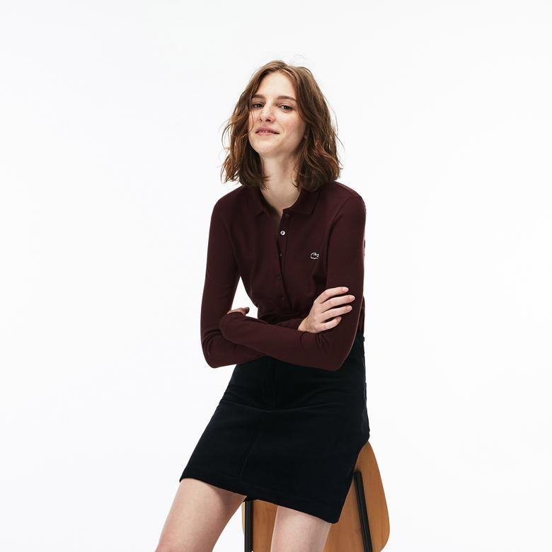 Lacoste Kadın Slim Fit Bordo Polo