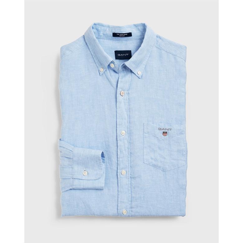 Gant Erkek Açık Mavi Regular Fit Keten Gömlek