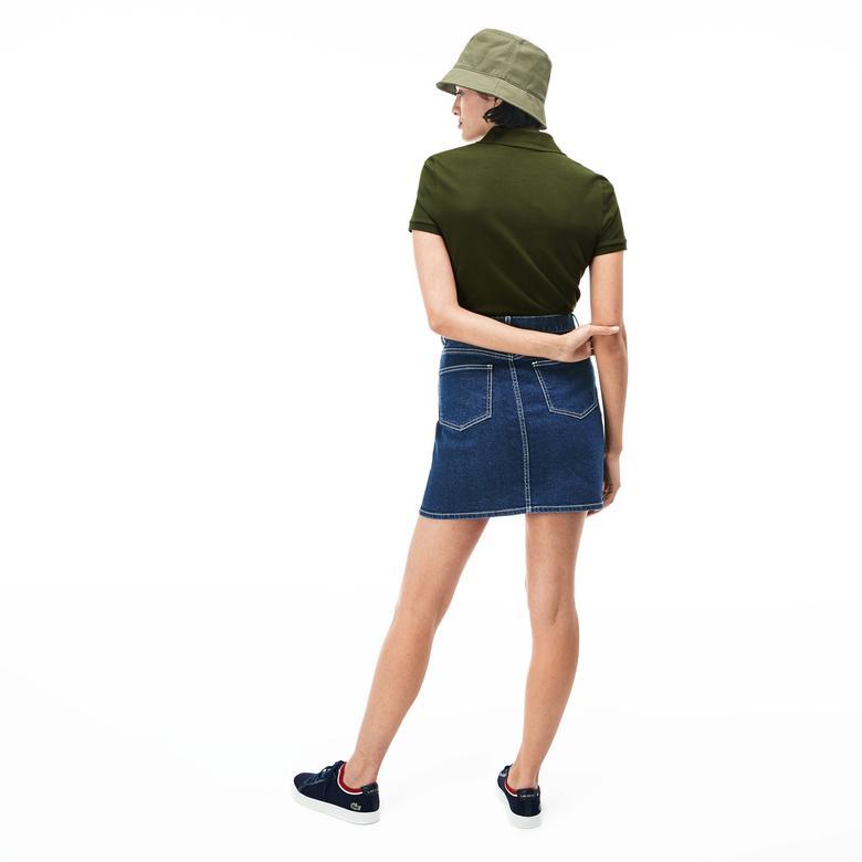 Lacoste Kadın Slim Fit Haki Kısa Kollu Polo