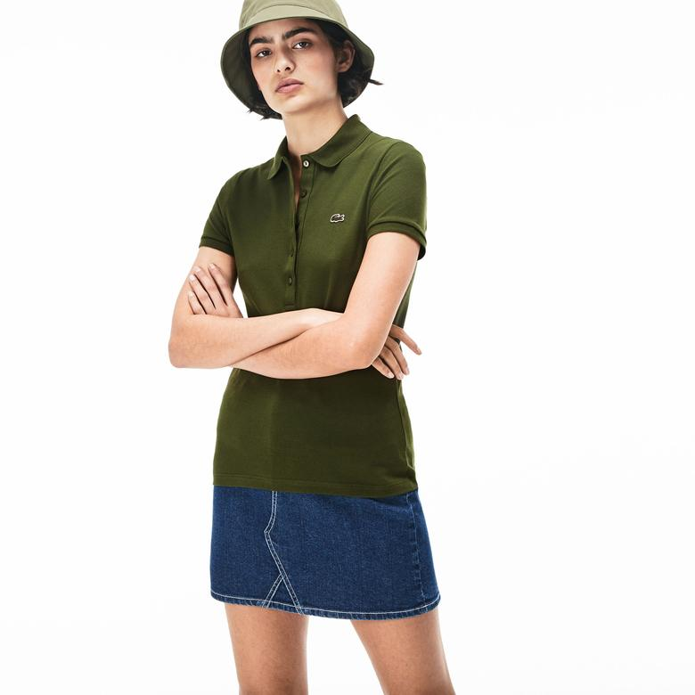 Lacoste Kadın Slim Fit Slim Fit Haki Polo