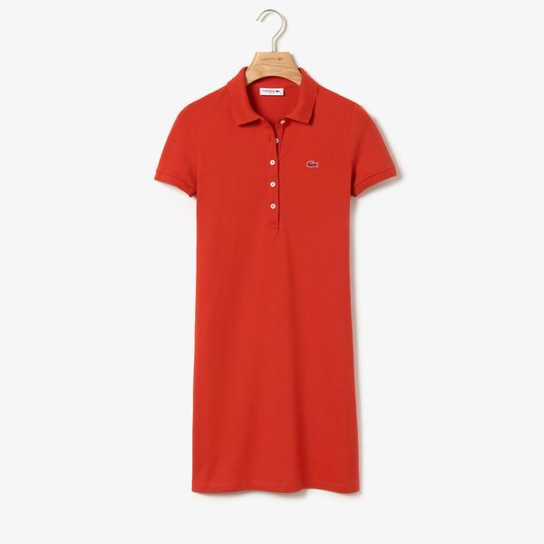 Lacoste Kadın Slim Fit Polo Yaka Kırmızı Elbise