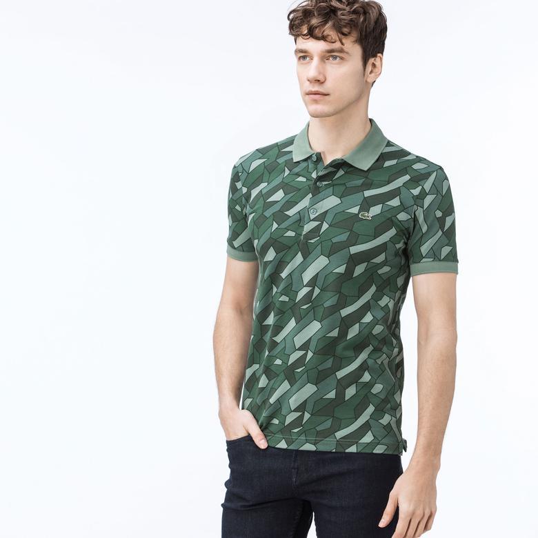 Lacoste Erkek Slim Fit Desenli Yeşil Polo