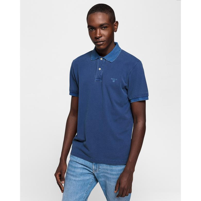 Gant Erkek Mavi Regular Fit Piqué Rugger Polo