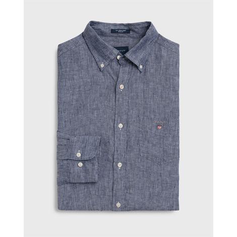 Gant Erkek Mavi Regular Fit Keten Gömlek