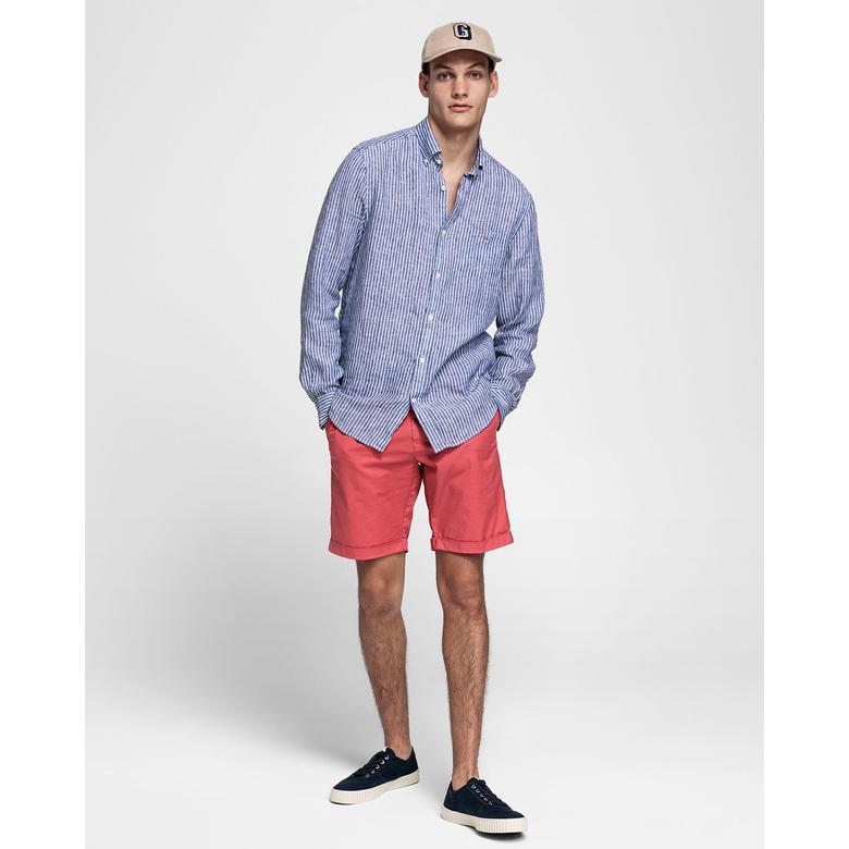 Gant Erkek Mavi Regular Fit Keten Banker Gömlek