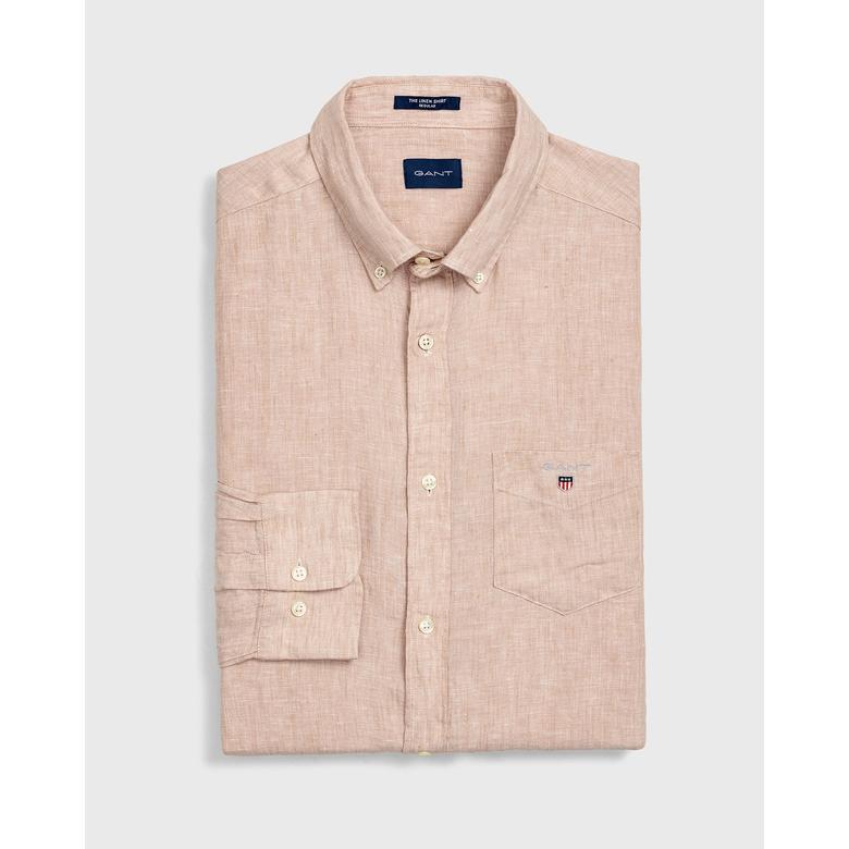 Gant Erkek Bej Regular Fit Keten Gömlek
