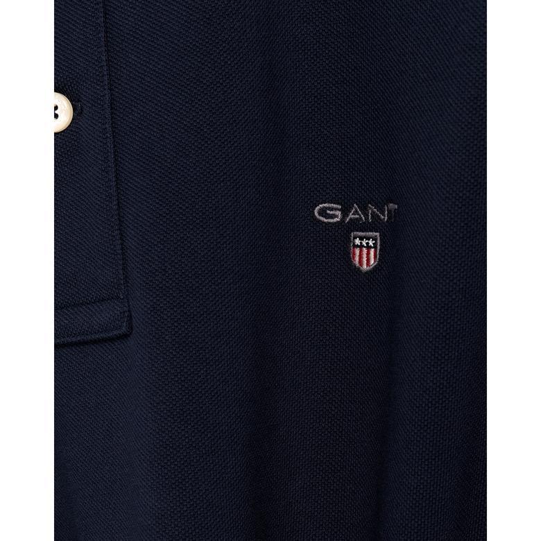 Gant Erkek Lacivert Regular Fit Piqué Polo