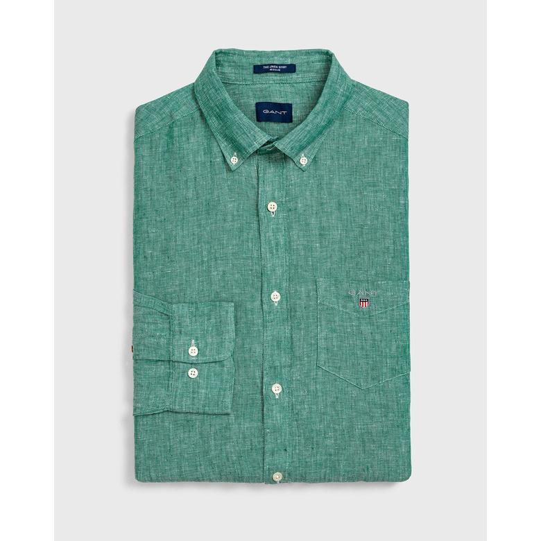 Gant Erkek Yeşil Regular Fit Keten Gömlek