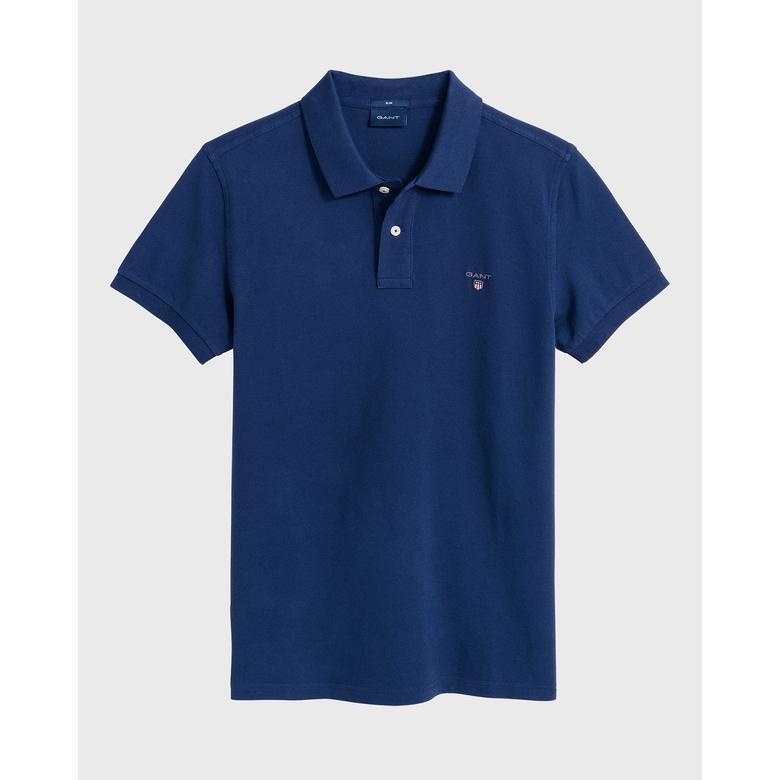 Gant Erkek Mavi Slim Fit Piqué Polo