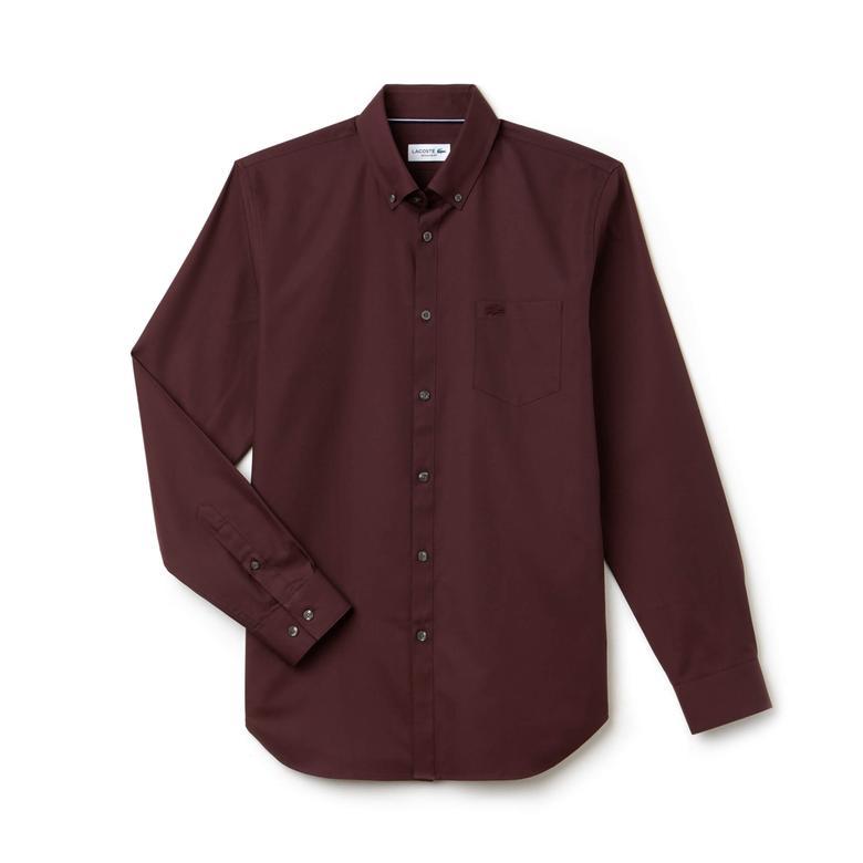 Lacoste Erkek Regular Fit Düğmeli Yaka Bordo Gömlek