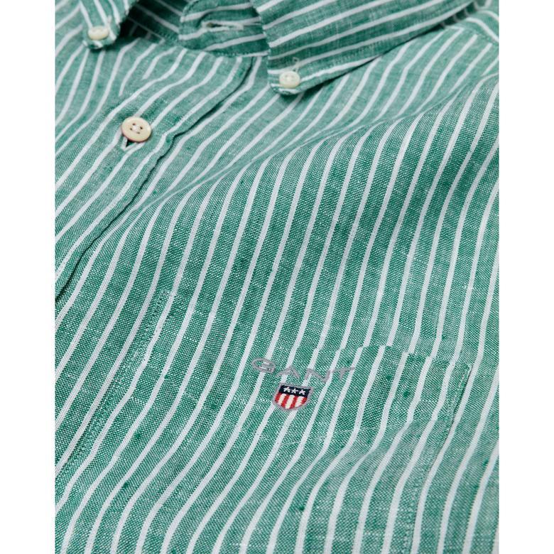 Gant Erkek Yeşil Regular Fit Keten Banker Gömlek