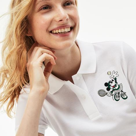 Lacoste x Disney Minnie İşlemeli Kadın Beyaz Polo