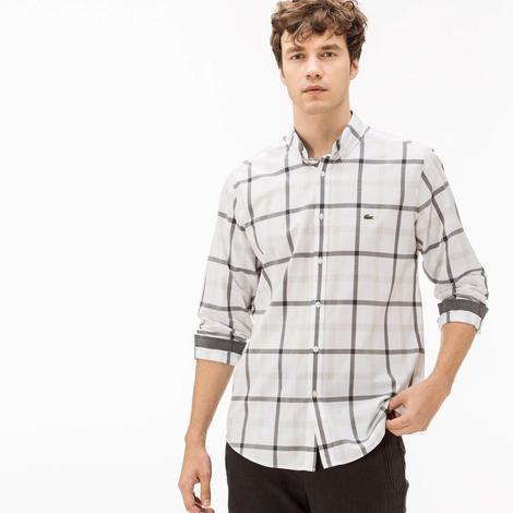 Lacoste Regular Fit Erkek Beyaz Ekose Gömlek