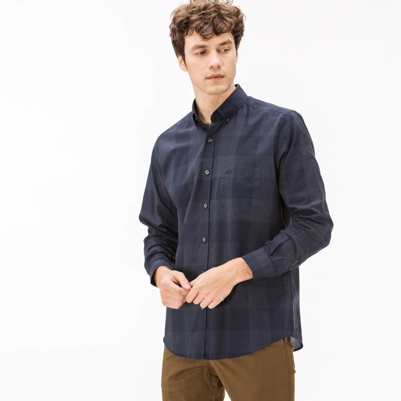 Lacoste Erkek Regular Fit Lacivert Ekose Gömlek