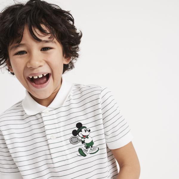 Lacoste x Disney Mickey İşlemeli Çocuk Beyaz Çizgili Polo