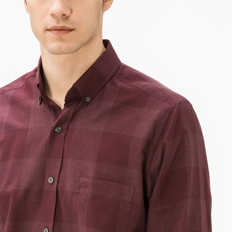 Lacoste Erkek Regular Fit Bordo Ekose Gömlek
