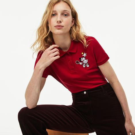 Lacoste x Disney Minnie İşlemeli Kadın Kırmızı Polo