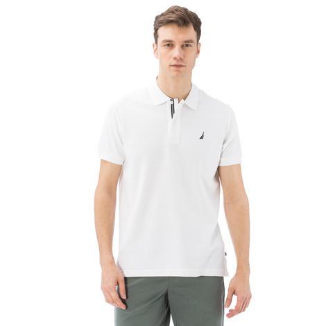 Nautica Erkek Beyaz Kısa Kollu Pamuklu Slim Fit Polo