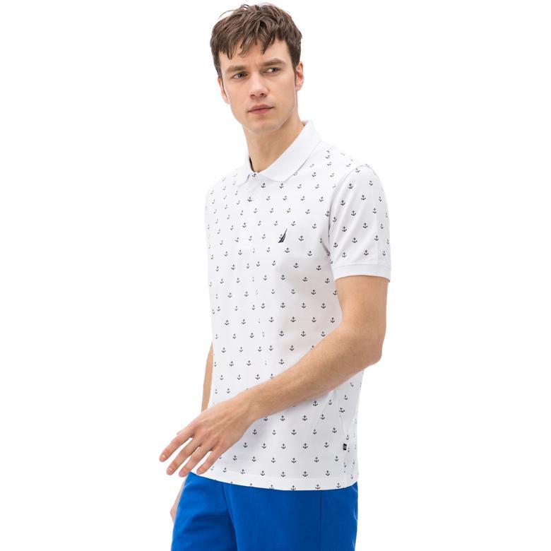 Nautica Erkek Beyaz Kısa Kollu Slim Fit Polo