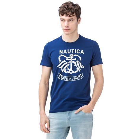 Nautica Erkek Lacivert Bisiklet Yaka Kısa Kollu Slim Fit T-Shirt