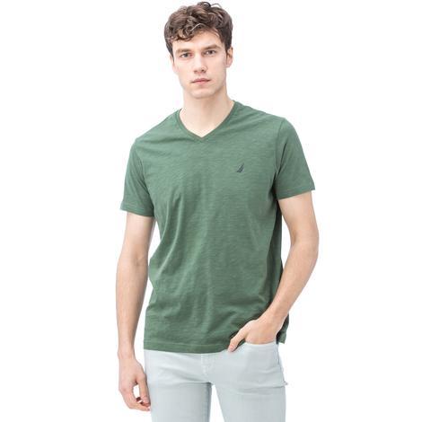 Nautica Erkek Yeşil Kısa Kollu V Yaka Flamlı Slim Fit T-Shirt