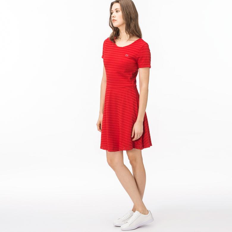 Lacoste Kadın Çizgili Kırmızı Elbise