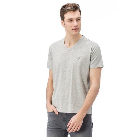 Nautica Erkek Gri Kısa Kollu V Yaka Slim Fit T-Shirt