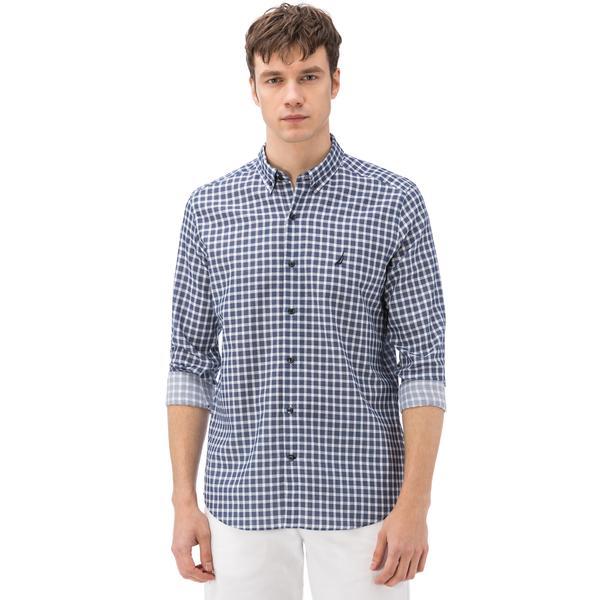 Nautica Erkek Lacivert Ekoseli Uzun Kollu Slim Fit Gömlek