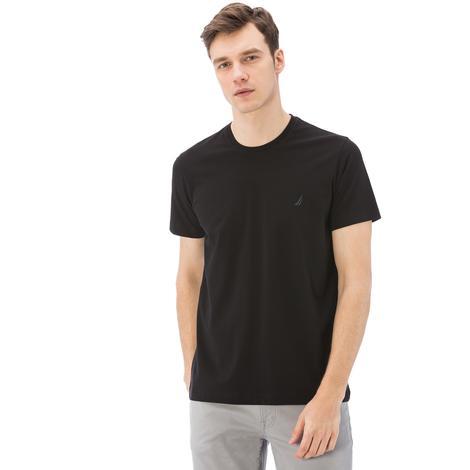 Nautica Erkek Siyah Kısa Kollu Bisiklet Yaka Slim Fit T-Shirt