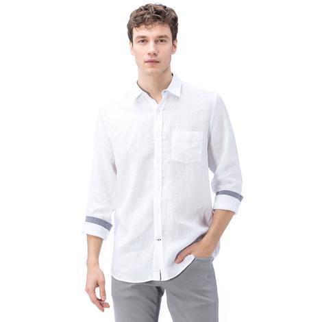 Nautica Erkek Beyaz Keten Gömlek