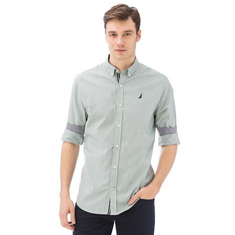 Nautica Erkek Yeşil Uzun Kollu Oxford Slim Fit Gömlek
