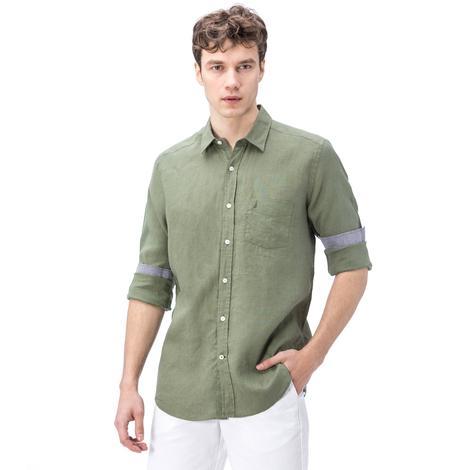 Nautica Erkek Yeşil Keten Gömlek