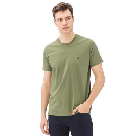Nautica Erkek Yeşil Kısa Kollu Bisiklet Yaka Slim Fit T-Shirt