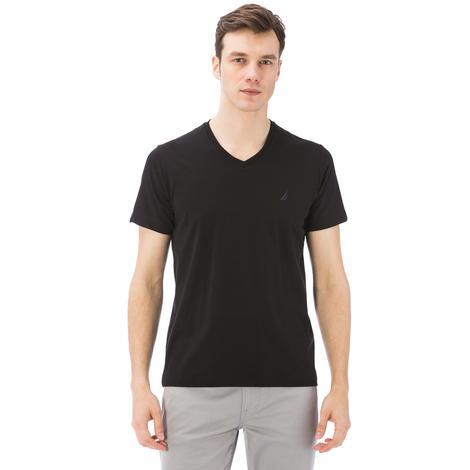 Nautica Erkek Siyah Kısa Kollu V Yaka Slim Fit T-Shirt