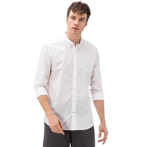 Nautica Erkek Beyaz Ekoseli Uzun Kollu Slim Fit Gömlek