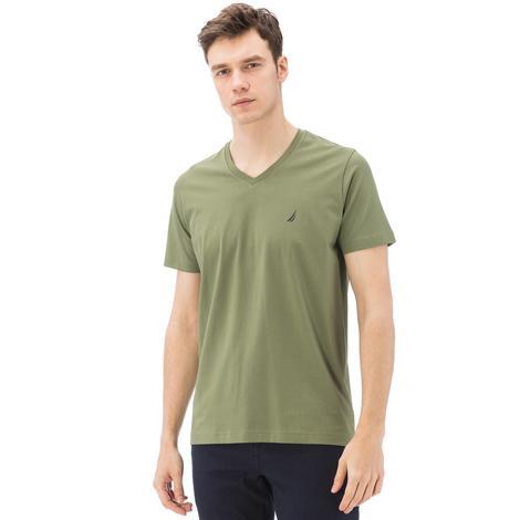 Nautica Erkek Yeşil Kısa Kollu V Yaka Slim Fit T-Shirt