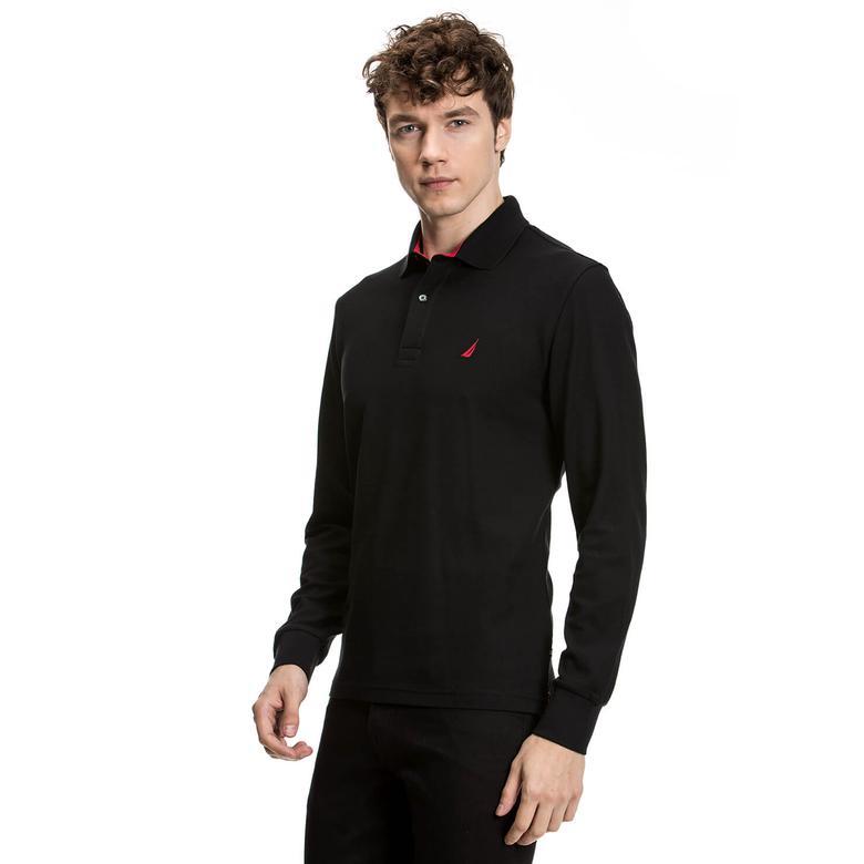 Nautica Uzun Kollu Düz Siyah Erkek Polo