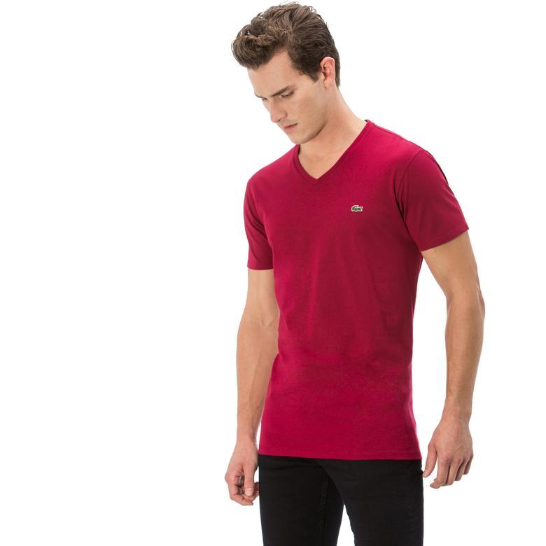 Lacoste Erkek Kırmızı V Yaka T-Shirt