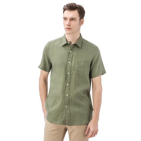 Nautica Erkek Yeşil Kısa Kollu Keten Gömlek