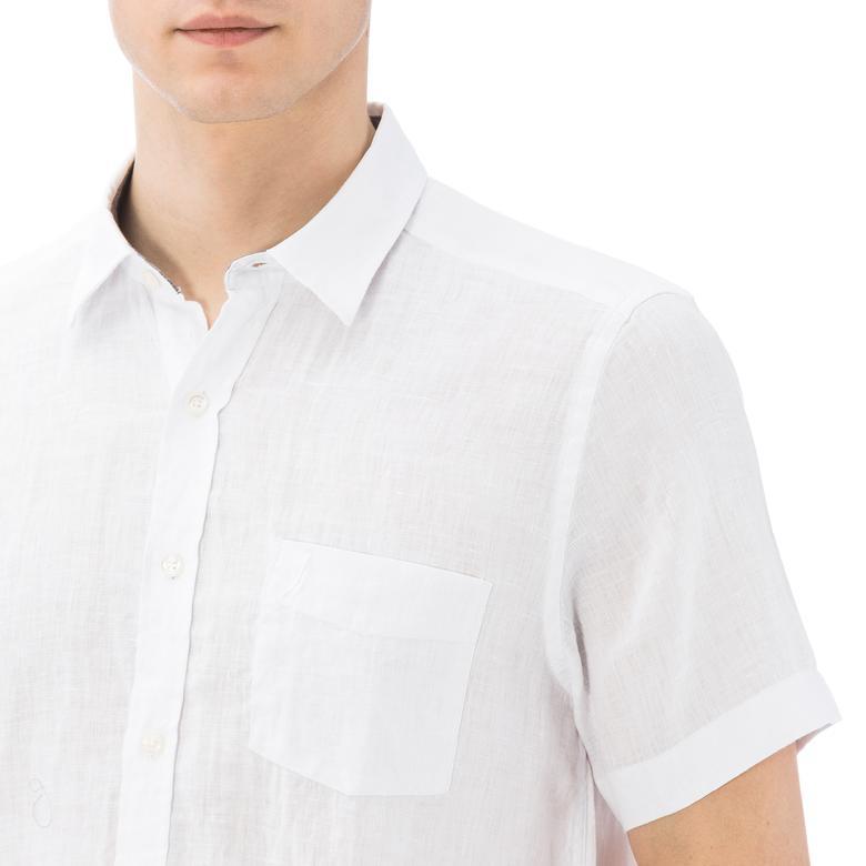Nautica Erkek Beyaz Kısa Kollu Keten Gömlek
