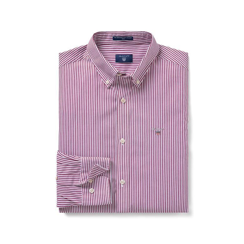 Gant Erkek Kırmızı Çizgili Slim Fit Broadcloth Gömlek