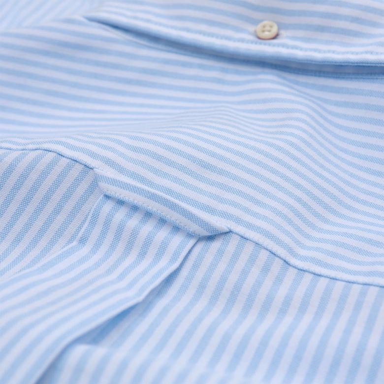 Gant Erkek Mavi Çizgili Regular Oxford Gömlek