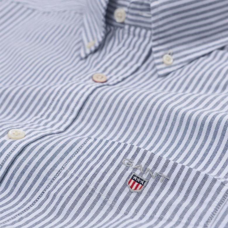 Gant Erkek Lacivert Çizgili Regular Oxford Gömlek