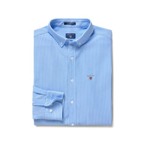 Gant Erkek Mavi Tech Prep Stripe Pique Regular Fit Gömlek