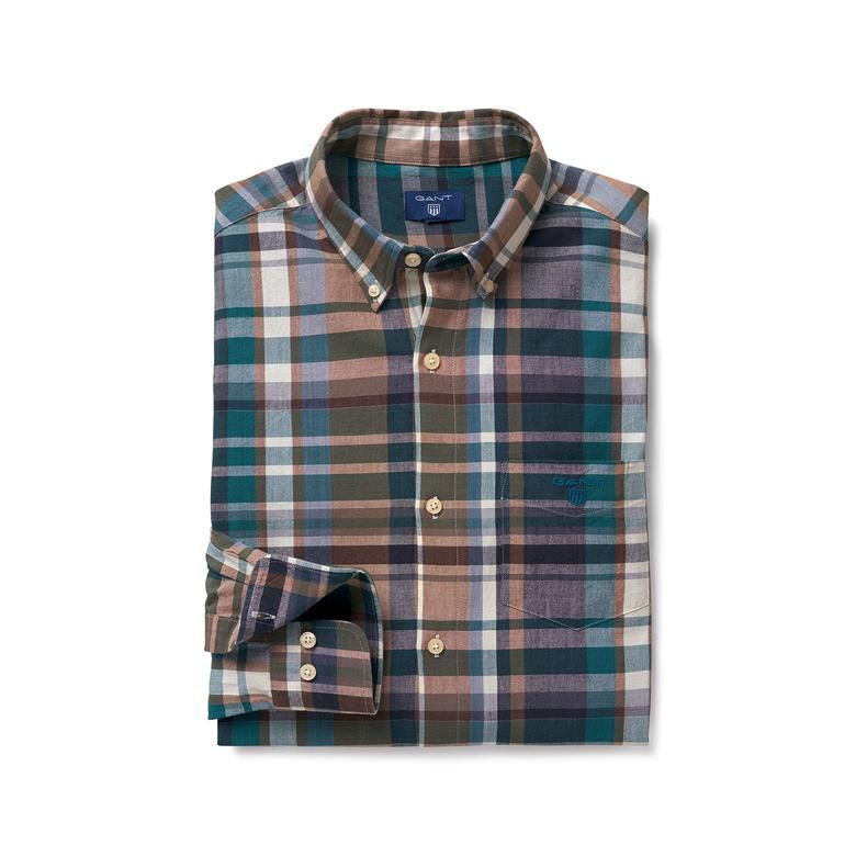 Gant Erkek Tech Prep Kahverengi Kareli Regular Fit Gömlek